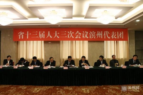 """林峰海参加滨州代表团审议时指出 领会精神实质  唱好""""滨州大戏"""""""